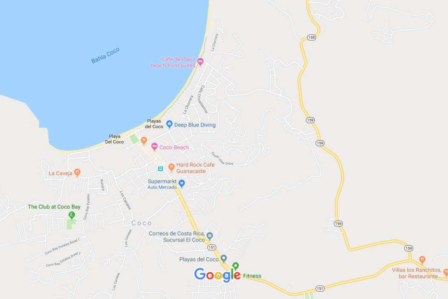 MAPA ENCUENTRA DEEP BLUE DIVING EN Playas del Coco, Costa Rica