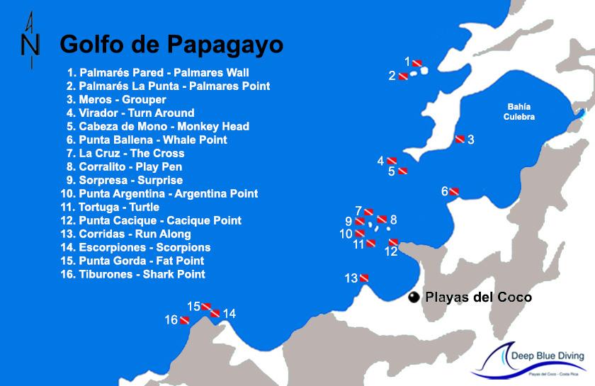 golfo papagayo mapa sitios de buceo